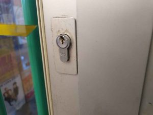 Silver lock in door